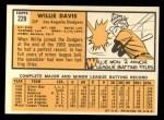 1963 Topps #229  Willie Davis  Back Thumbnail