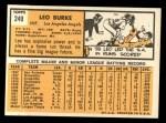 1963 Topps #249  Leo Burke  Back Thumbnail