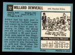 1964 Topps #72  Willard Dewveall  Back Thumbnail