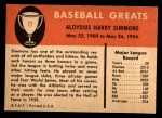 1961 Fleer #77  Al Simmons  Back Thumbnail