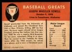1961 Fleer #76  Joe Sewell  Back Thumbnail