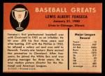 1961 Fleer #27  Lew Fonseca  Back Thumbnail