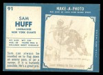 1961 Topps #91  Sam Huff  Back Thumbnail