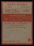 1965 Philadelphia #180  Dave Parks   Back Thumbnail