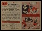 1957 Topps #57  Al Carmichael  Back Thumbnail