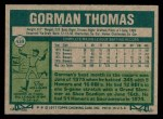 1977 Topps #439  Gorman Thomas  Back Thumbnail