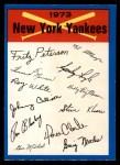 1973 O-Pee-Chee Blue Team Checklist #17   Yankees Team Checklist Front Thumbnail