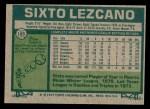 1977 Topps #185  Sixto Lezcano  Back Thumbnail