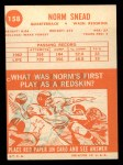 1963 Topps #158  Norm Snead  Back Thumbnail