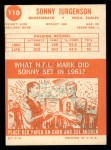 1963 Topps #110  Sonny Jurgensen  Back Thumbnail