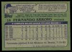 1982 Topps #18  Fernando Arroyo  Back Thumbnail