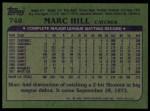 1982 Topps #748  Marc Hill  Back Thumbnail