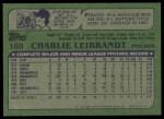1982 Topps #169  Charlie Leibrandt  Back Thumbnail