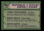 1982 Topps #118   -  Bryn Smith / Terry Francona / Brad Mills Expos Rookies Back Thumbnail