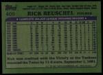 1982 Topps #405  Rick Reuschel  Back Thumbnail