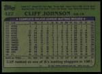 1982 Topps #422  Cliff Johnson  Back Thumbnail