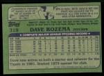 1982 Topps #319  Dave Rozema  Back Thumbnail