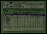 1982 Topps #44  Britt Burns  Back Thumbnail