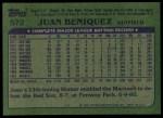 1982 Topps #572  Juan Beniquez  Back Thumbnail