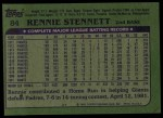 1982 Topps #84  Rennie Stennett  Back Thumbnail