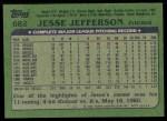 1982 Topps #682  Jesse Jefferson  Back Thumbnail