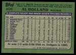 1982 Topps #406  Al Holland  Back Thumbnail