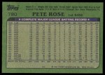1982 Topps #780  Pete Rose  Back Thumbnail