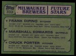 1982 Topps #333   -  Marshall Edwards / Chuck Porter / Frank DiPino Brewers Leaders Back Thumbnail