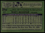 1982 Topps #87  Matt Keough  Back Thumbnail