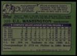 1982 Topps #329  U.L. Washington  Back Thumbnail