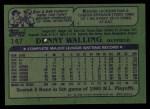 1982 Topps #147  Dennis Walling  Back Thumbnail