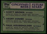 1982 Topps #351   -  Scott Brown / Paul Householder / Geoff Combe Reds Rookies   Back Thumbnail