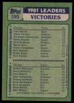 1982 Topps #165   -  Tom Seaver / Dennis Martinez / Steve McCatty / Jack Morris / Pete Vuckovich Wins Leaders Back Thumbnail