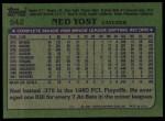1982 Topps #542  Ned Yost  Back Thumbnail