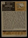1971 Topps #12  Larry Krause  Back Thumbnail