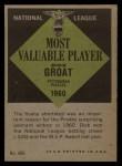 1961 Topps #486   -  Dick Groat Most Valuable Player Back Thumbnail