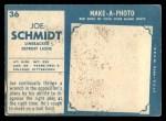 1961 Topps #36  Joe Schmidt  Back Thumbnail