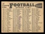 1959 Topps #61   49ers Team Checklist Back Thumbnail