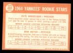 1964 Topps #488   -  Pete Mikkelson / Bob Meyer Yankees Rookies Back Thumbnail