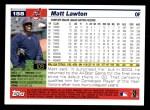 2005 Topps #158  Matt Lawton  Back Thumbnail