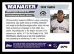 2005 Topps #276  Clint Hurdle  Back Thumbnail
