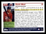 2005 Topps #317  Kevin West  Back Thumbnail