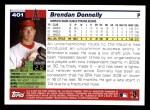 2005 Topps #401  Brendan Donnelly  Back Thumbnail