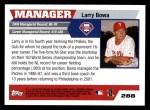 2005 Topps #288  Larry Bowa  Back Thumbnail