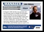 2005 Topps #296  John Gibbons  Back Thumbnail