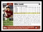 2005 Topps #495  Mike Lamb  Back Thumbnail