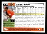 2005 Topps #531  Daniel Cabrera  Back Thumbnail
