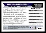 2005 Topps #647   Colorado Rockies Team Back Thumbnail