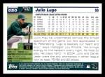 2005 Topps #520  Julio Lugo  Back Thumbnail