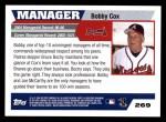 2005 Topps #269  Bobby Cox  Back Thumbnail